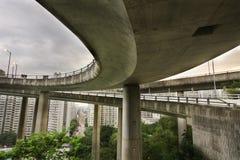 Freeway traffic bridge at day Stock Photos