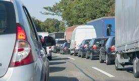 Freeway with traffic jam Royalty Free Stock Photo