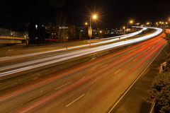 Freeway Traffic Light Trails at Night in Oregon Stock Images