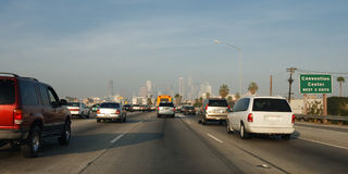 Freeway Traffic in Los Angeles Royalty Free Stock Image
