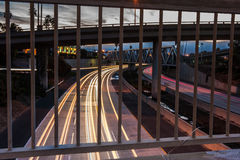 Freeway 101 traffic at morning light. Royalty Free Stock Photography