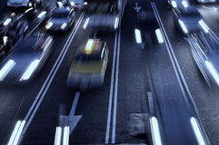 Freeway Traffic with motion blur Stock Photo