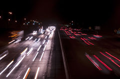 Freeway traffic at night Royalty Free Stock Photo