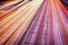 Freeway Traffic at Night, Royalty Free Stock Image