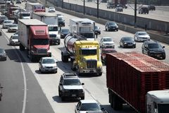 Freeway Traffic in Pasadena, California Royalty Free Stock Photo