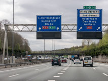 Freeway traffic and route information in the Netherlands stock images