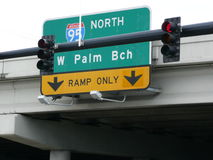 Freeway and Traffic Signs Royalty Free Stock Photography