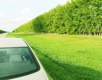 Freeway, traveling to beautiful places. New car goes on the road next to the green forests and bright meadows Stock Photography