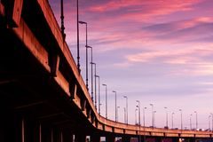 Freeway Under Sunset Royalty Free Stock Photo