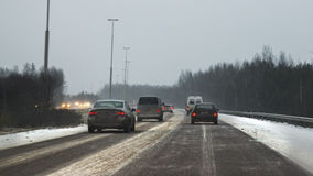 Freeway at winter Royalty Free Stock Image