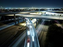 Freeway2. 110 and 105 freeways in los angeles night bridge Royalty Free Stock Image
