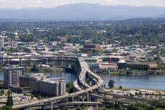 Freeways traffics Portland. Freeway structures in Portland Oregon Royalty Free Stock Photo