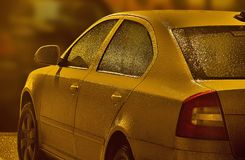 Freeze Car. Car covered in ice after a winter rain Stock Photos