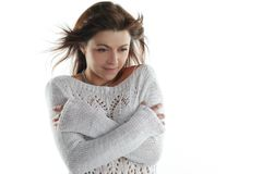 Freeze from a cold woman Stock Image