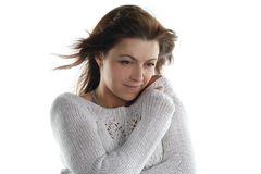 Freeze from a cold woman Royalty Free Stock Photography