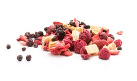 Dried berries. Freeze dried berries mix stack on white background stock image