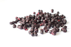 Freeze dried blueberries on a white background. Royalty Free Stock Images
