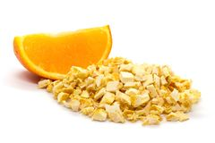 Freeze dried and fresh orange on a white background. Royalty Free Stock Photos