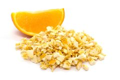 Freeze dried and fresh orange on a white background. Lyophilization. Food for astronauts. Isolated stock photos