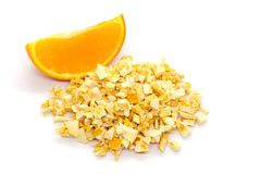 Freeze dried and fresh orange on a white background. Royalty Free Stock Photography