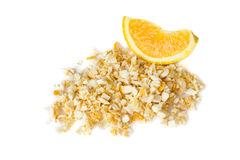 Freeze dried and fresh orange on a white background. Stock Photo