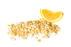 Freeze dried and fresh orange on a white background. Isolated. Lyophilization. Food for astronauts stock photography