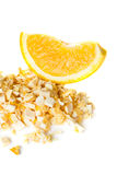 Freeze dried and fresh orange on a white background. Royalty Free Stock Photo