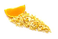 Freeze dried and fresh orange on a white background. Royalty Free Stock Image