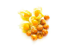 Freeze dried and fresh physalis on a white background. Freeze dried and fresh physalis on a white background with shadow. Lyophilization. Food for astronauts Royalty Free Stock Images