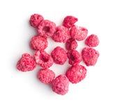 Freeze dried raspberries. Freeze dried raspberries isolated on white background stock photos