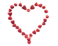 Freeze dried raspberries on a white background in the form of heart. Lyophilization. Food for astronauts. Stock Photography
