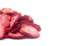 Freeze Dried Strawberries. On a White Background stock photography