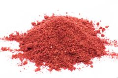 Freeze dried strawberries on a white background, powder stock images