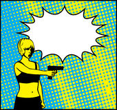 Freeze Girl Holding Gun Pistol Illustration. Pop art illustration of a girl in action with a pistol Royalty Free Stock Photography