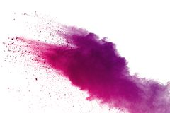 Freeze motion of colored powder explosions isolated on white background stock images