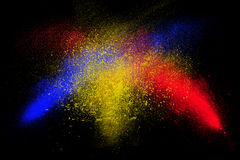 Freeze motion of colorful powder exploding Royalty Free Stock Photo