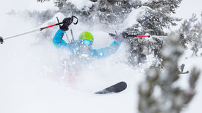 Freeze motion of freerider in deep powder snow Royalty Free Stock Photos