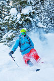 Freeze motion of freerider in deep powder snow. Skiing in forest Stock Images