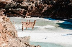 Freeze river and broken wooden bridge. Zanskar Valley. Leh Ladakh royalty free stock images