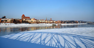 Freeze river in Torun, Poland Stock Photo