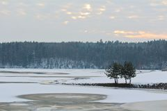 Freeze and snowy dam Rimov on river Malse.  royalty free stock photo