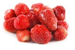 Freeze strawberry. On white background Royalty Free Stock Photo