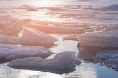 Freeze water lake in winter season royalty free stock photography
