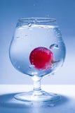 Freezed Bewegungstraube und Glaswasser Stockbild