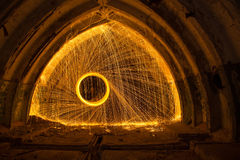 Freezelight using spinning burning steel wool and pyrotechnics Royalty Free Stock Images