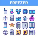 Freezer, Cooling Appliance Linear Vector Icons Set stock illustration