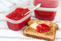 Freezer Strawberry Jam and Toast Stock Photo