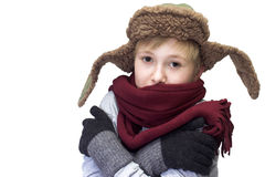 Freezing boy. The freezing boy. Isolated on a white background Stock Photos