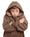 Freezing boy. Isolated on white. Clipping path include Stock Photos