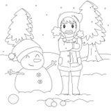 Freezing Boy on Winter Cold, Outline Cartoon Vector. Freezing and shivering young boy on winter cold, standing beside a snowman. cartoon  illustration Stock Photo